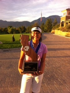 Crystal Wang with the California State CIF Girl's Trophy won by Crystal and her Diamond Bar HS teammate's.