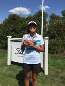 Crystal Wang with trophy and Scotty Cameron head cover for shooting the low score in the final round of the AJGA event.