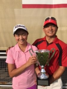 Rose and her father at the Toyota Tour Championship